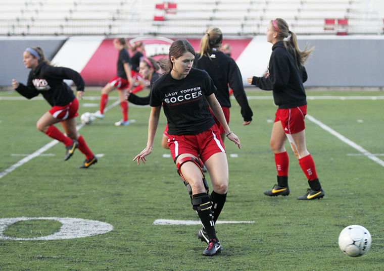 Morning soccer practice at Smith Stadium on Tuesday, Oct 22.
