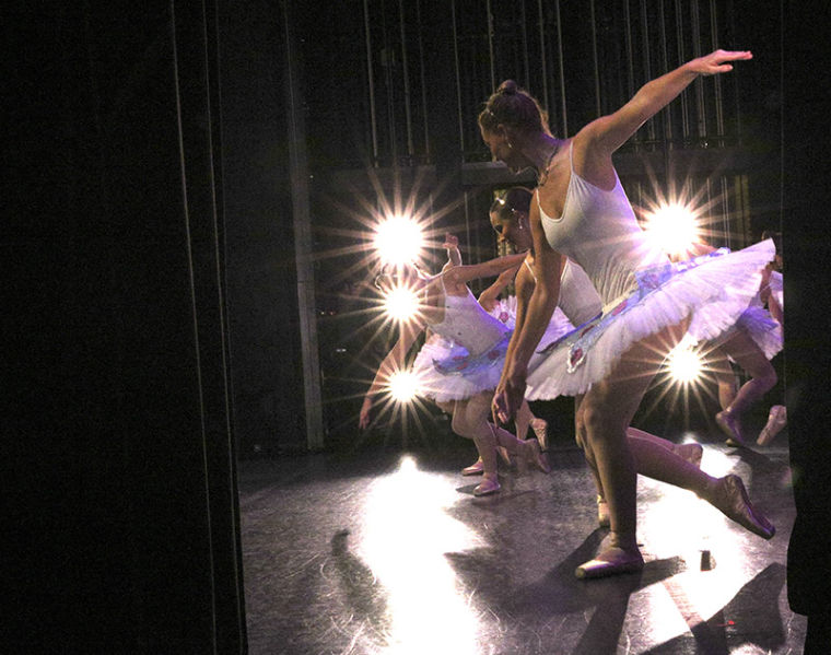 Dancers rehearse as dance fairies during dress rehearsals for Cinderella at Van Meter Auditorium.