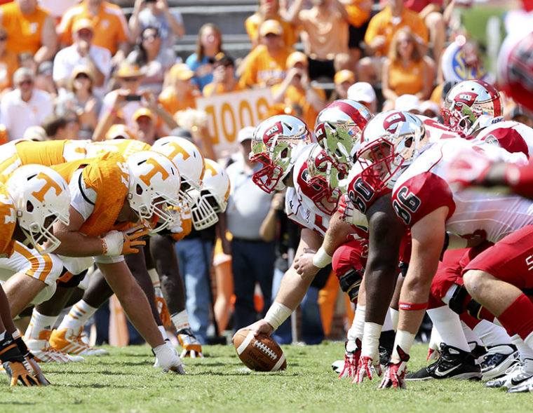 Senior+center+Sean+Conway+%2865%29+prepares+to+snap+the+ball+during+WKU%27s+52-20+loss+to+Tennessee+on+Sept.+7.