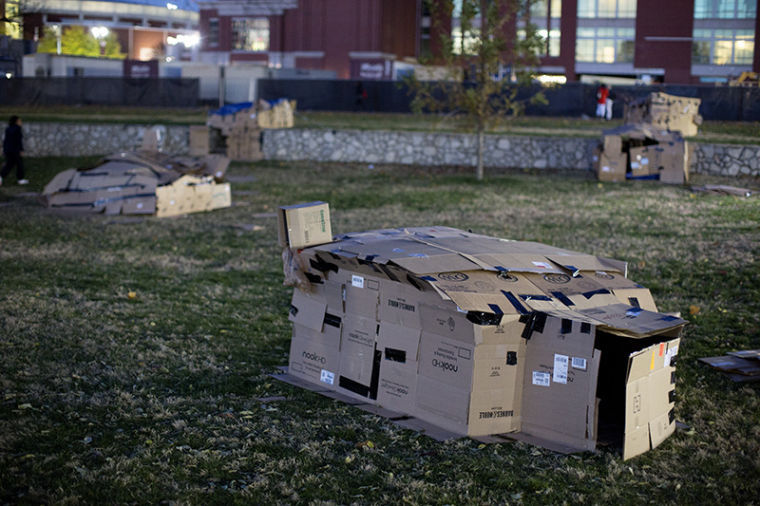 Shanty+homes+built+by+WKU+students+remain+on+South+Lawn+after+Housing+and+Residence+Life%27s+annual+%22Shantytown%22+event.+Students+were+given+the+opportunity+to+experience+a+night+of+homelessness+to+gain+a+better+understanding+of+what+it%27s+like+to+be+homeless.+Participants+also+learned+how+to+take+positive+action+to+become+part+of+the+solution+of+homelessness.