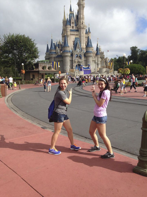 Shelby+Rogers%2C+left%2C+at+Disney%27s+Magic+Kingdom+earlier+this+semester.+Rogers+is+interning+as+part+of+the+Disney+College+Program.