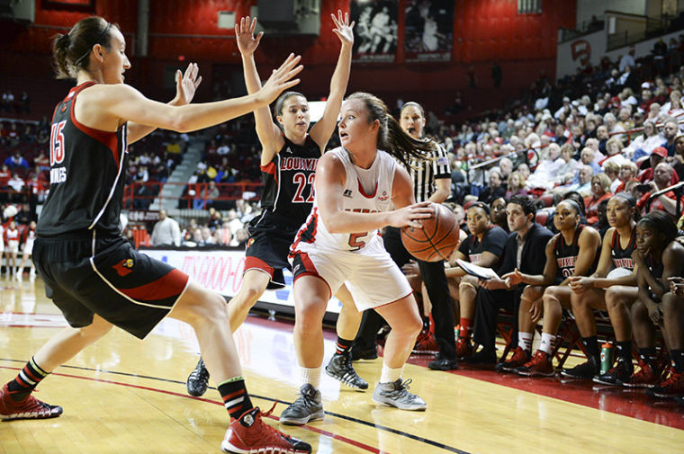 November+27%2C+2013%2C+Bowling+Green%2C+Kentucky%2C+USA_+%7C+Sophomore+Micah+Jones+%28%235%29+is+guarded+by+Louisville+sophomore+Megan+Deines+%28%2315%29+and+junior+Jude+Schimmel+%28%2322%29.+WKU+lost+74-61+against+%234+Louisville+on+Nov.+27%2C+2013+at+E.A.+Diddle+Arena.%C2%A0