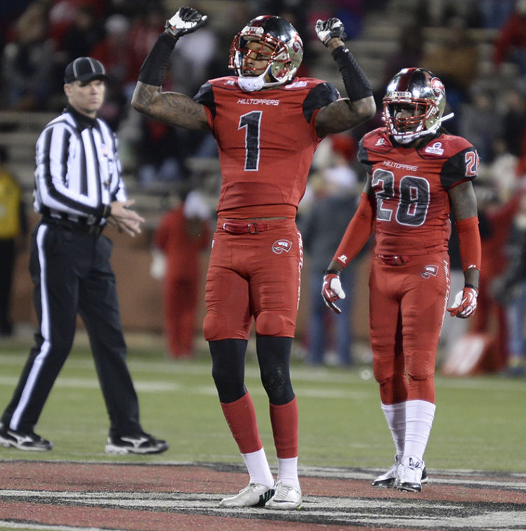 Junior+Jonathan+Dowling+gets+the+crowd+pumped+up+during+the+game.+WKU+won+34-31+against+Arkansas+State+on+Nov.+30%2C+2013+at+Houchens-Smith+Stadium.%C2%A0