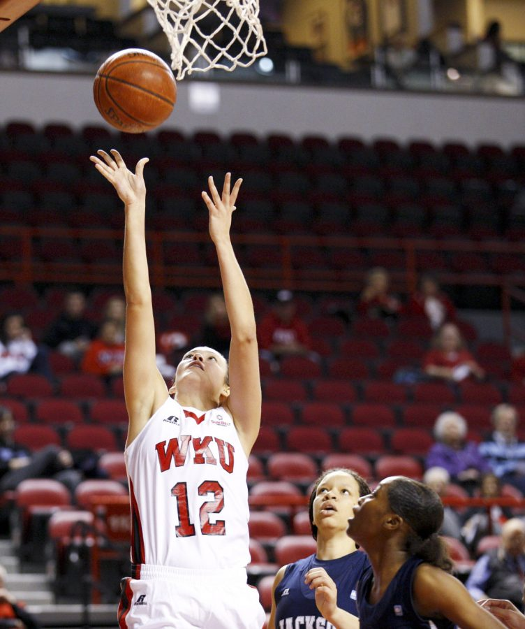 Freshman+guard+Kendall+Noble+makes+a+layup+during+the+first+half+of+WKU%27s+game+against+Jackson+State+Sunday%2C+Dec.+15%2C+2013%2C+at+Diddle+Arena+in+Bowling+Green%2C+Ky.+The+Lady+Toppers+lead+46-21+at+the+half.
