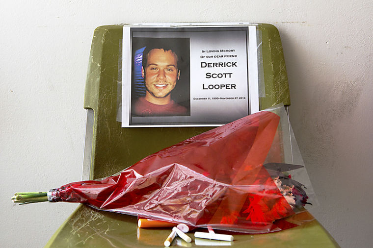A memorial for Bowling Green 22-year-old Derrick Scott Looper outside of Cherry Hall. Looper passed away Wed. Nov. 27, 2013.