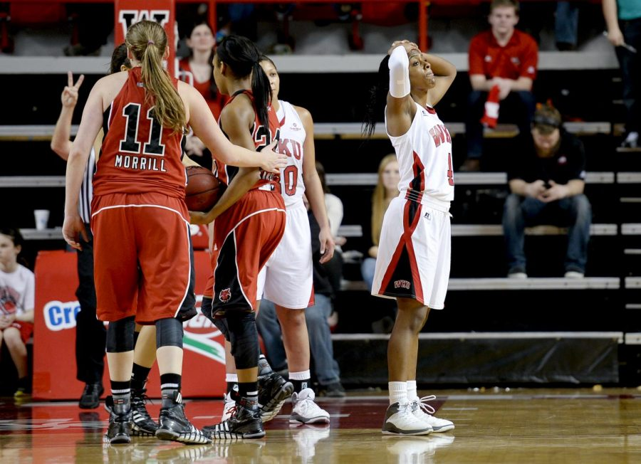Junior+guards+Chanell+Lockhart+reacts+after+being+called+for+a+foul+during+the+Ladytoppers+64-67+loss+to+Arkansas+State+on+Saturday%2C+Jan.+18.