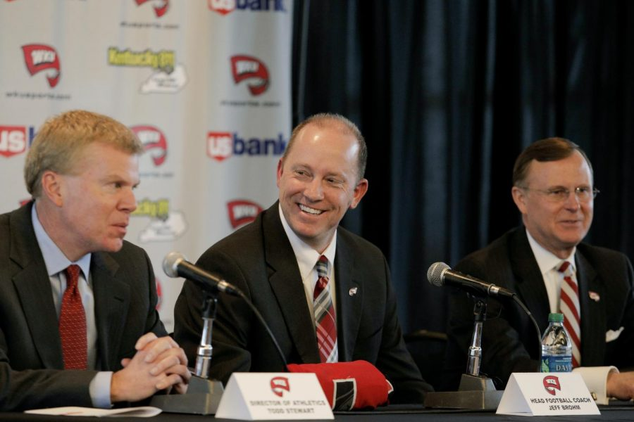 Jeff Brohm laughs during a press conference in the Harbaugh Club at Smith Stadium after being named WKU's new head football coach on Friday, Jan. 10.