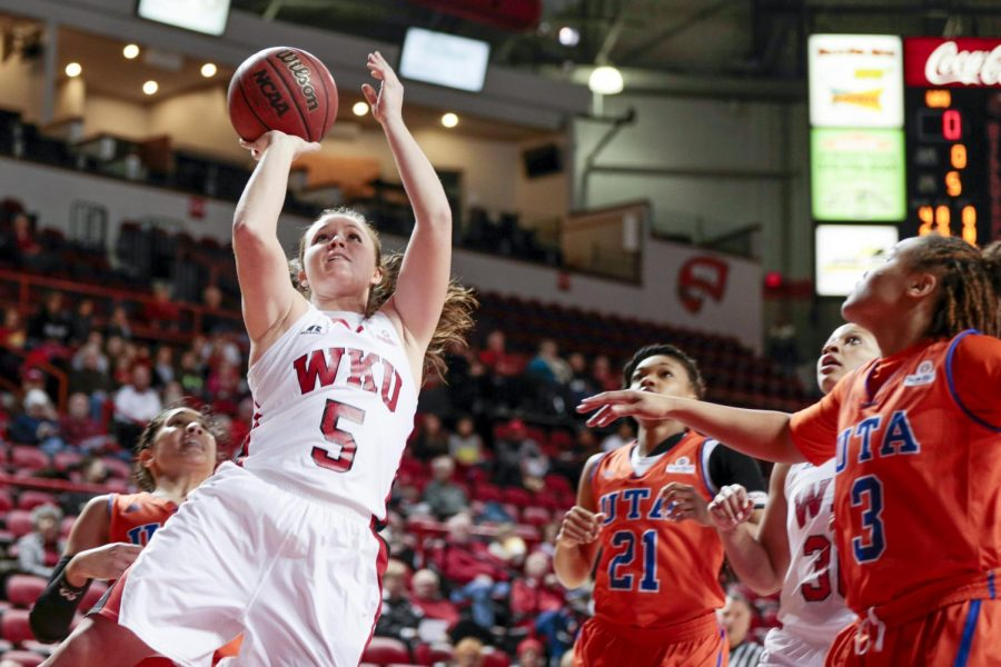 WKU sophomore guard Micah Jones (5) goes for a shot during the first half of the game against UT Arlington in Diddle Arena on Wednesday, Jan. 29.