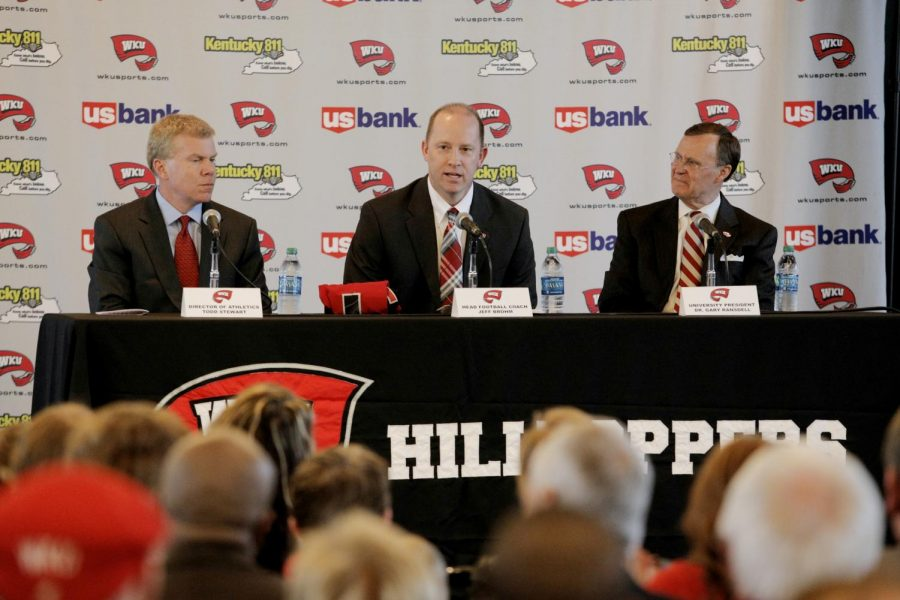 Jeff Brohm speaks during a press conference in the Harbaugh Club at Smith Stadium after being named WKU's new head football coach on Friday, Jan. 10.