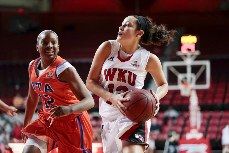 WKU+freshman+guard+Kendall+Noble+%2812%29+prepares+to+make+a+shot+during+the+game+against+UT+Arlington+in+Diddle+Arena+on+Wednesday%2C+Jan.+29.+The+Tops+won+59-46.