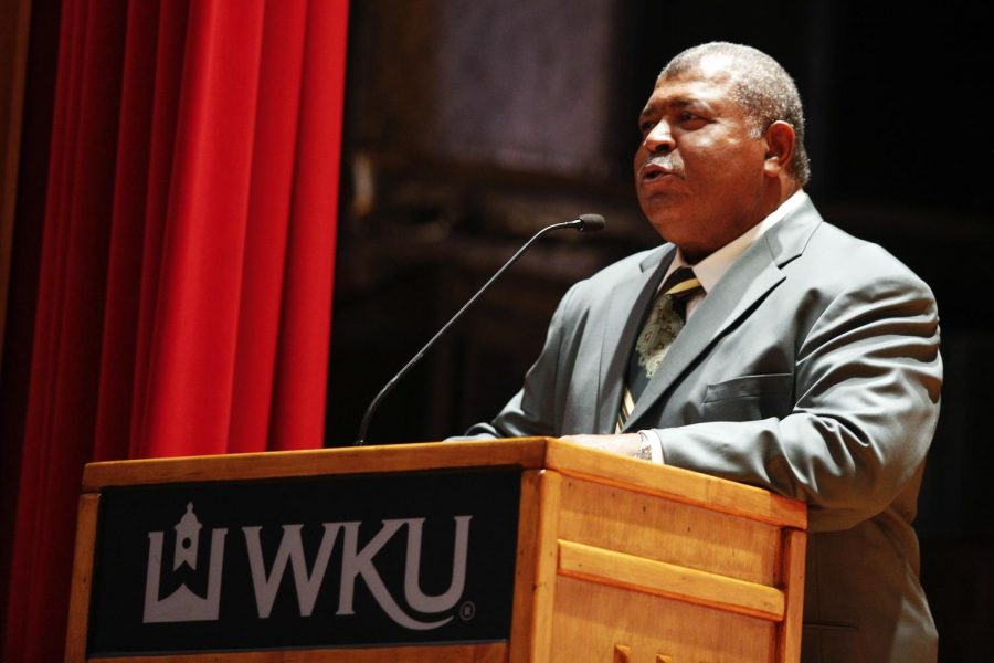 The+Houston+Texans+defensive+coordinator+and+WKU+alumnus%2C+Romeo+Crennel%2C+speaks+to+students+about+race+and+adversity+in+honor+of+Black+History+Month+at+Downing+Student+Union+on+Thursday%2C+Feb.+13.+Crennel+has+been+an+NFL+coach+for+six+different+teams+throughout+his+career%2C+including+three+Super+Bowl+championship+teams+with+the+New+England+Patriots.+%28Ian+Maule%2FHERALD%29