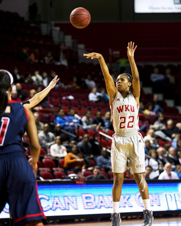 WKU+senior+guard+Bianca+McGee+%2822%29+shoots+a+three+pointer+during+the+first+half+of+WKU%27s+81-55+win+over+South+Alabama+on+Saturday%2C+Feb.+15%2C+2014+at+Diddle+Arena+in+Bowling+Green%2C+Ky.+McGee+landed+five+3-point+shots+for+the+night.+%28Mike+Clark%2FHERALD%29