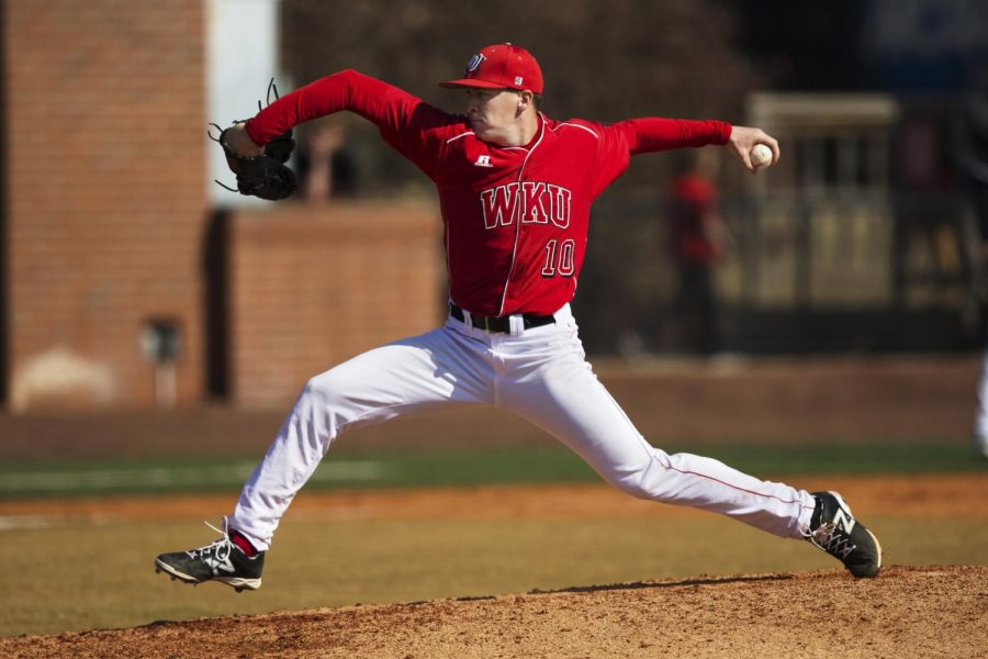 WKU's junior left handed pitcher Ian Tompkins (10) pitches during the 8th inning of WKU's 6-4 victory over Southern Illinois Feb. 16, 2014, at Nick Denes Field in Bowling Green, Ky. (Mike Clark/HERALD)