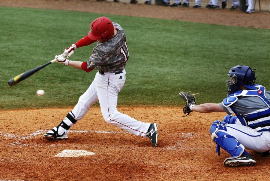 WKU+Senior+Infielder+misses+hitting+the+ball+during+the+University+of+North+Carolina+vs+WKU+game+at+Nick+Denes+field+on+Sunday.