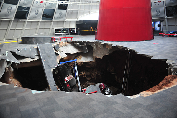 A+sinkhole+with+an+estimated+size+of+40+feet+across+and+25-30+feet+deep+appeared+in+the+Skydome+at+the+National+Corvette+Museum+early+this+morning.+No+one+was+in+the+museum+at+the+time.+Photo+provided+by+the+National+Corvette+Museum.