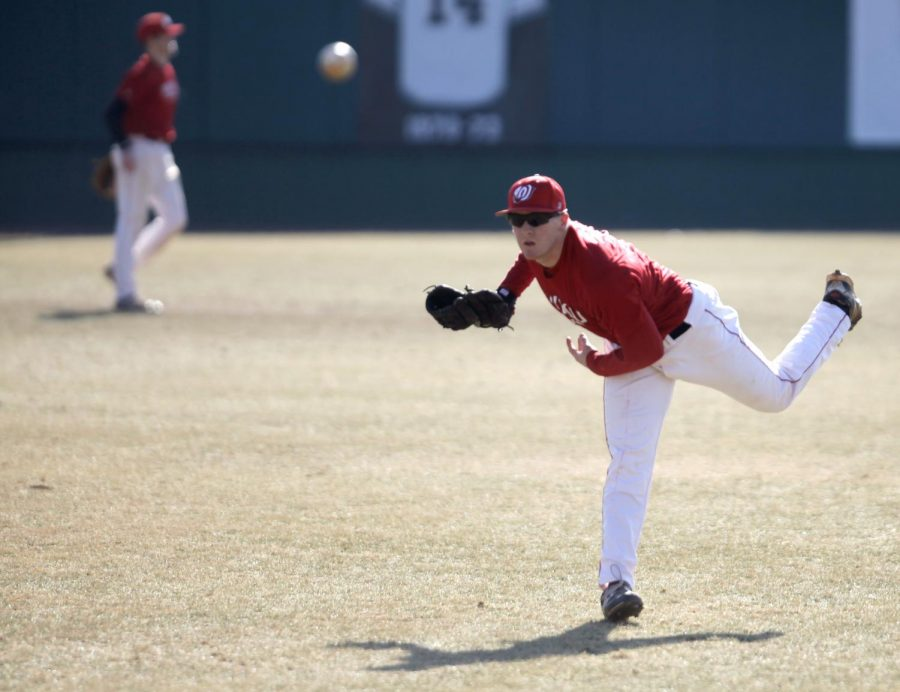 WKU+left-handed+pitcher+Ian+Tompkins+warms+up+his+arm+during+practice+Tuesday%2C+Feb.+11%2C+at+Nick+Denes+Field+in+preparation+for+the+season+opener+Friday+against+Southern+Illinois.+%28Austin+Anthony%2FHERALD%29