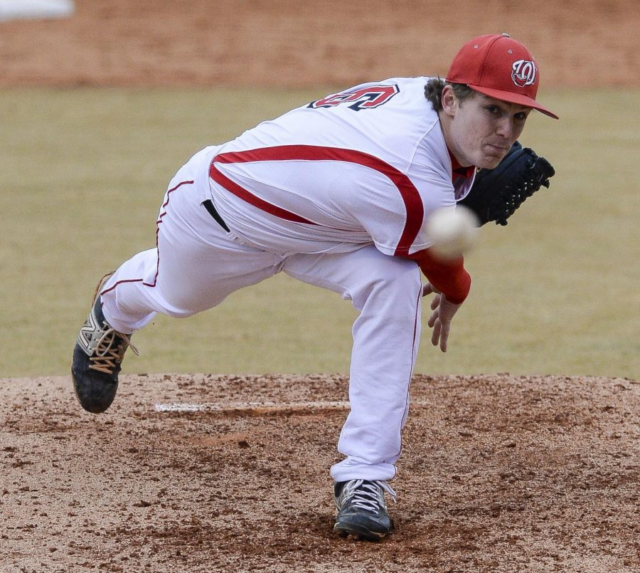 WKU+sophomore+right-handed+pitcher%2C+Josh+Bartley%2C+launches+the+toward+home+plate+during+the+Toppers%27+game+against+Southern+Illinois+on+Feb.+15.+Photo+courtesy+of+WKU+Athletic+Media+Relations.