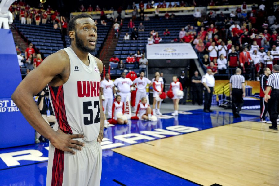 WKU junior guard T.J. Price looks on after a 73-72 loss against University of Louisiana Lafayette during the 2014 Men's Sun Belt Tournament semifinal round at Lakefront Arena in New Orleans, La. on Saturday Mar. 15, 2014. (Jeff Brown/HERALD)