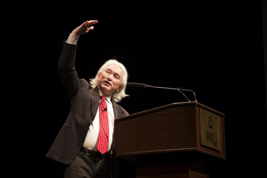 Theoretical physicist and futurist Michio Kaku spoked to a packed house in Van Meter Hall auditorium on Monday. Gatton Academy co-sponsored Kaku's visit, which concluded the WKU's 2014 Cultural Enhancement Series. (Mike Clark/HERALD)