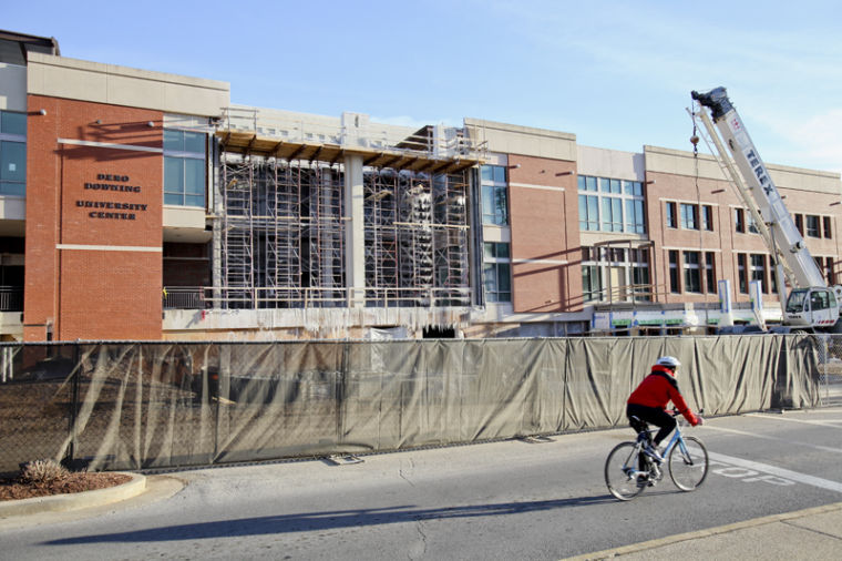 Downing+Student+Union+has+been+under+construction+for+more+than+a+year+and+will+open+Aug.+2014.%C2%A0