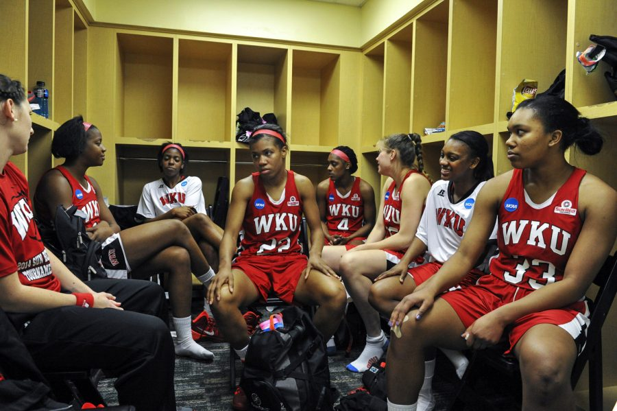 The Lady Toppers recuperate in their locker room after their 87-74 loss to Baylor during the first round of the 2014 NCAA Divison I Women's Basketball Championship at the Ferrell Center in Waco, Texas on Saturday. (Jeff Brown/HERALD)