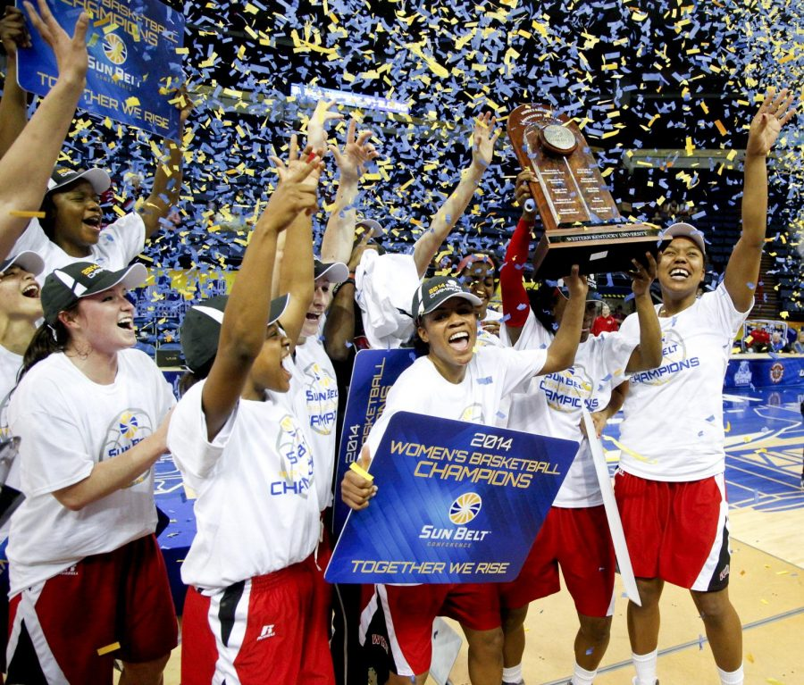 The+Lady+Toppers+celebrate+after+WKU%27s+61-60+victory+Arkansas+State+in+the+championship+game+of+the+Sun+Belt+Tournament+Saturday%2C+March+15%2C+2014%2C+at+Lakefront+Arena+in+New+Orleans%2C+La.+The+Lady+Toppers+secured+a+place+in+the+NCAA+tournament+with+their+win.+%28Mike+Clark%2FHERALD%29
