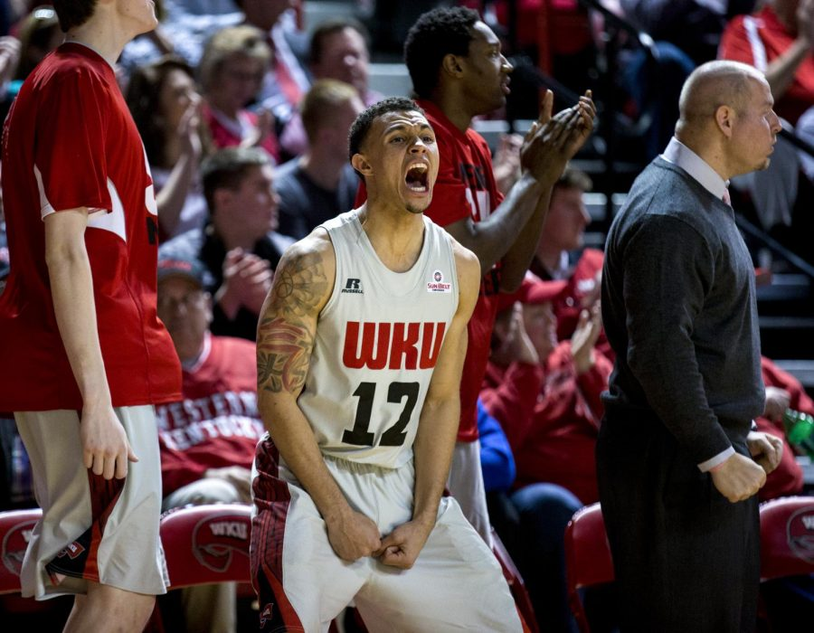 WKU's senior guard Brandon Harris (12) cheers after a turnover during the second half of his last home game as a Topper, a 75-72 win over the University of Louisiana Lafayette Thursday, March 6, 2014 at Diddle Arena in Bowling Green, Ky. (Mike Clark/HERALD)