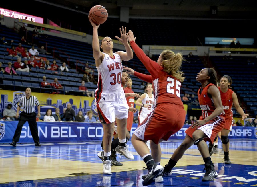 WKU%27s+junior+forward+Chastity+Gooch+%2830%29+shoots+over+ULL%27s+guard+Sylvana+Okde+%2825%29+during+the+first+half+of+WKU%27s+game+against+the+University+of+Louisiana+Lafayette+in+the+first+round+of+the+Sun+Belt+Tournament+Wednesday%2C+March+12%2C+2014%2C+at+Lakefront+Arena+in+New+Orleans%2C+La.+%28Jeff+Brown%2FHERALD%29