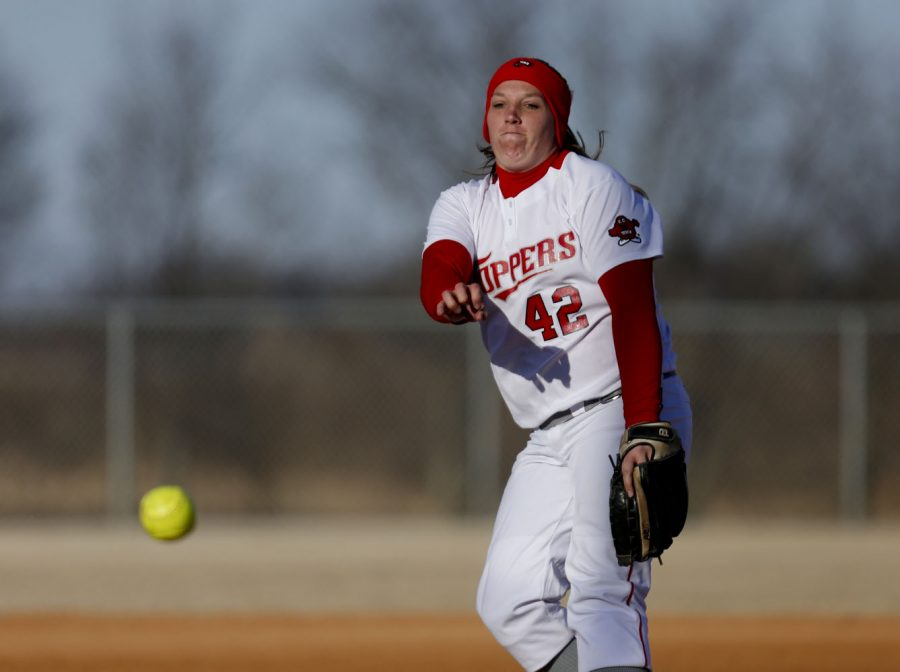 Senior pitcher Emily Rousseau (42) pitches the ball during the 1st inning at the womens softball game against the University of Northern Iowa on Friday, February 28 at Buchanon Park in Bowling Green, Ky. The tops lost 3-6. (Kreable Young/HERALD)