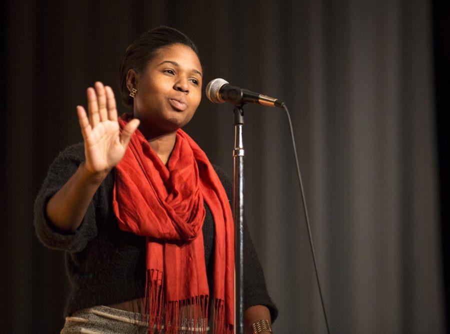 Nashville senior Carmen Van Leer recites her monologue,