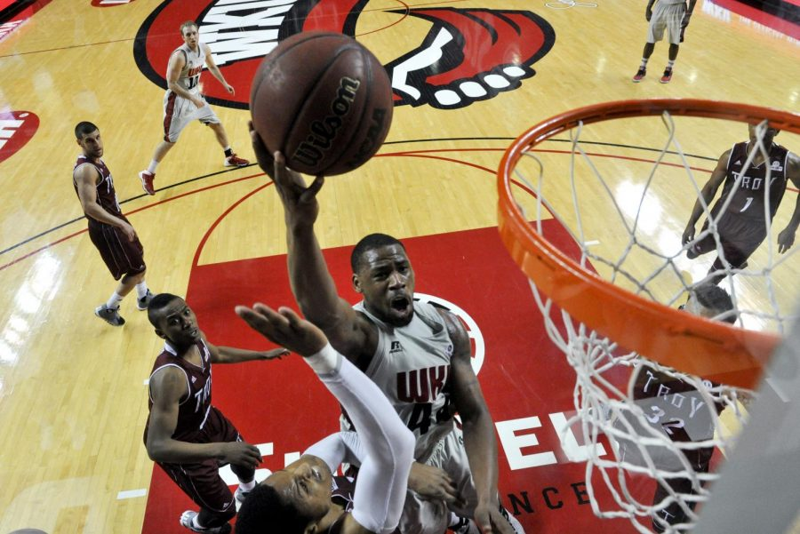 WKU junior forward George Fant lays the ball up to the rim during WKU's win over Troy of 81-76 on Thursday Feb. 13, 2014 at Diddle Arena in Bowling Green, Ky. (Jeff Brown/HERALD)