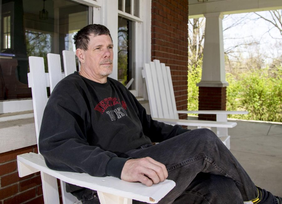 Forrest Halford sits on his porch Wednesday, April 16, 2014, in Bowling Green, Ky. Halford recent retired after 24 years working in the WKU Store. (Mike Clark/HERALD)