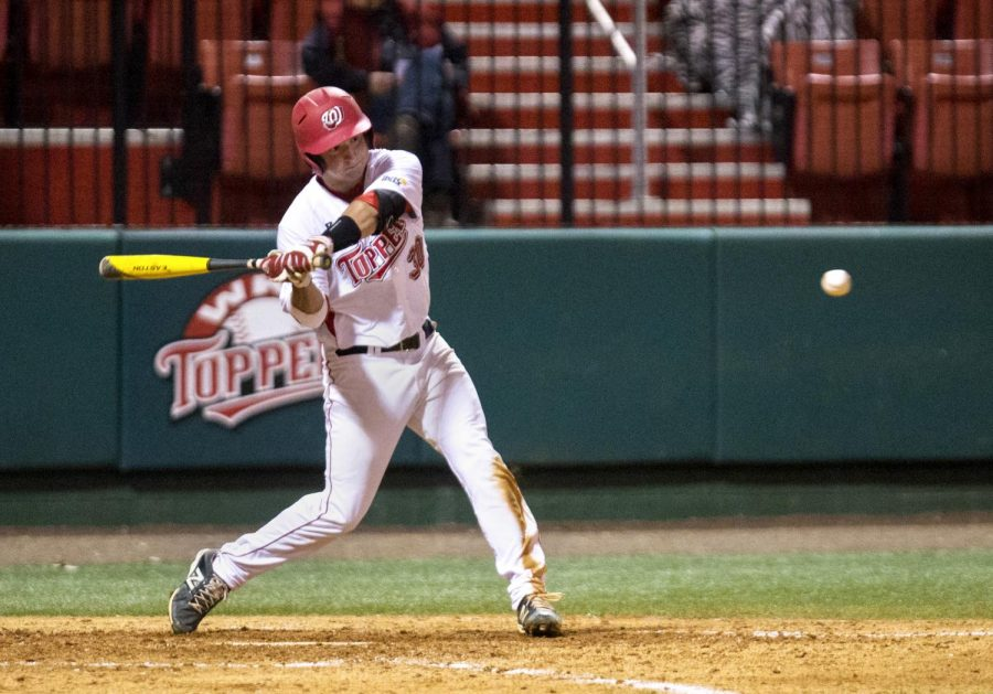 WKU's redshirt junior catcher Ryan Messex (30) swings during the team's game against Texas State Friday at Nick Denes Field. The Toppers defeated the Bobcats 4-1. (Mike Clark/HERALD)