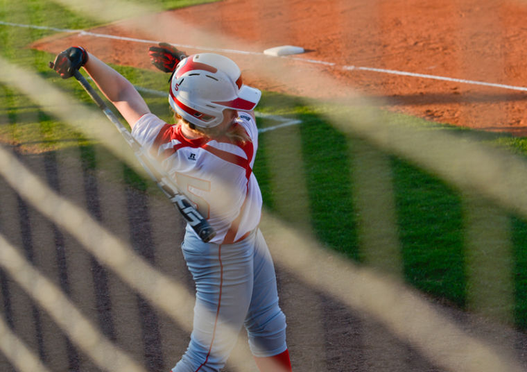 Junior infielder Amanda Thomas warms up in the on-deck circle during WKU's game against Samford. Thomas has recently set the WKU home run record with 32 home runs in three seasons.
