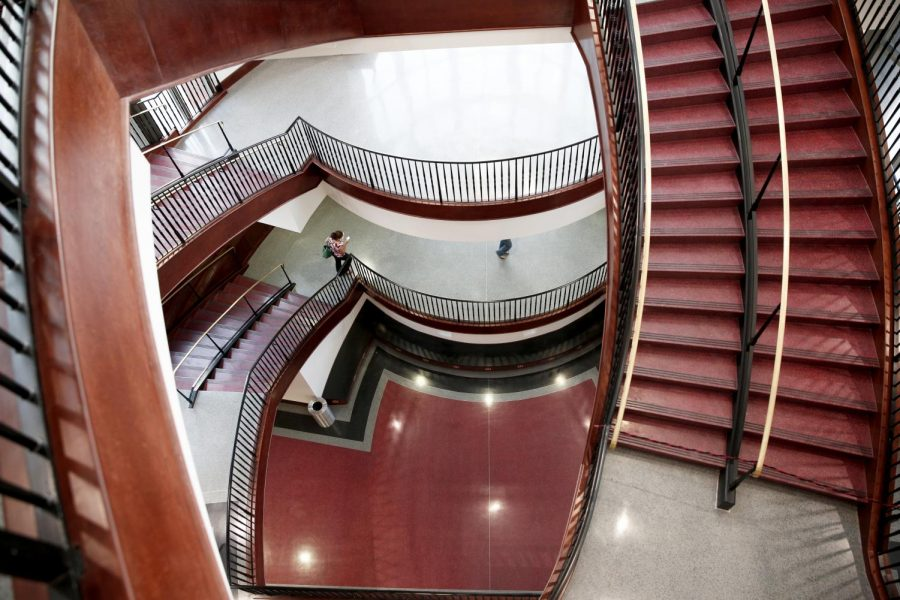 The+stairs+in+Downing+Student+Union+is+the+latest+completion+to+the+university+center.+DSU+has+been+semi-closed+since+2012%2C+taking+away+a+centralized+location+for+the+student+body.+%28Tyler+Essary%2FHERALD%29