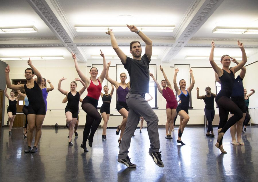 Jim Cooney (center) teaches the choreography to Jet Set from the Broadway musical ÒCatch Me If You CanÓ during the dance master class on Saturday in Gordon Wilson Hall. (Mike Clark/HERALD)