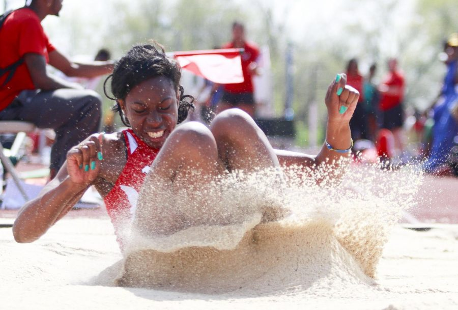 WKU senior jumper France Makabu competes in the long jump during Saturday at the Hilltopper Relays. Makabu would record a jump of 19-feet-2.75 inches. (Luke Franke/HERALD)