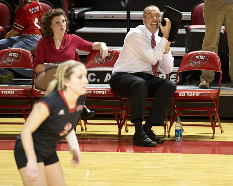 Head+coach+Travis+Hudson+yells+encouragement+during+WKU%E2%80%99s+3-0+win+against+the+University+of+Louisiana+Lafayette+Nov.+8%2C+2013%2C+at+E.A.+Diddle+Arena+in+Bowling+Green%2C+Ky.