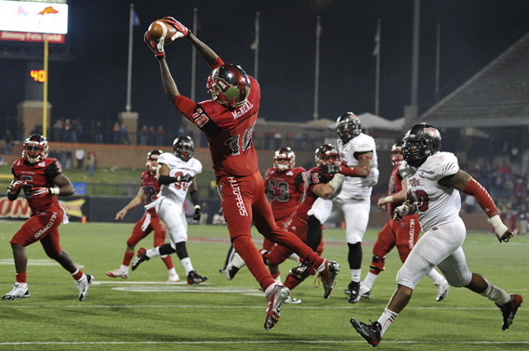 Junior Willie McNeal catches the winning touchdown pass with 12 seconds to go as WKU won 34-31 against Arkansas State on Nov. 30, 2013 at Houchens-Smith Stadium.