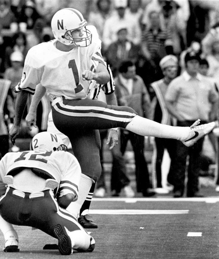 Dale Klein (1) still shares the NCAA FBS record of seven field goals in a game, a feat he accomplished in Nebraska's 28-20 victory against Missouri in 1985.