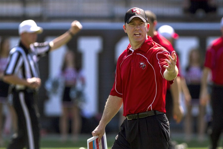 Head Coach Jeff Brohm during the Red and White Spring Game on April 19 at Smith Stadium. (Mike Clark/HERALD)