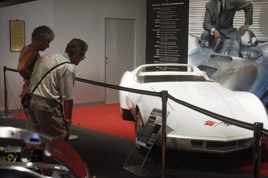 Visitors at the National Corvette Museum look at the concept car display. The National Corvette Museum is celebrating its 20th anniversary this weekend.Jake Pope/HERALD