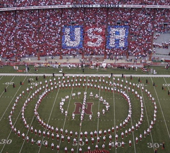 NU%2FRice.+Husker+Football.+USA+displayed+by+fans+is+the+east+stands+of+Memorial+Stadium+as+the+Scalet+and+Cream+singers+sing+%27God+Bless+America%27+during+the+pre-game+show+at+the+Nebraska%2FRice+Game.+NU+vs+Rice+in+Husker+Football+ljshusk+ljshfb+ljshfbhg+2%2F24%2F2002+Directions+Photo+appeared%2C+no+caption