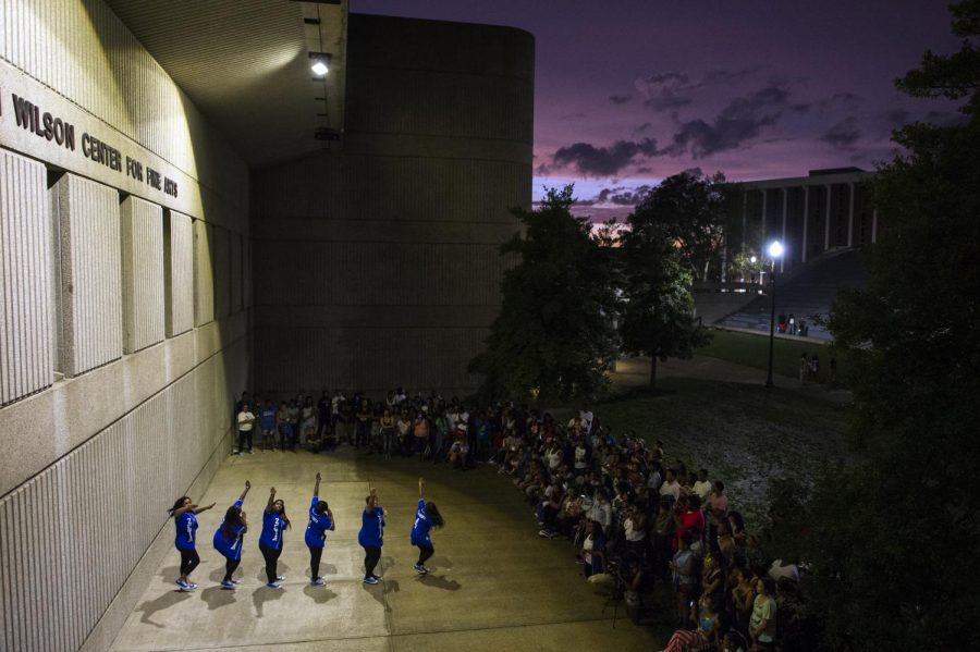Zeta+Phi+Beta+sorority+sisters+perform+their+routine+during+the+annual+Yard+Show+at+the+Colonnades+on+Tuesday.+Justin+Gilliland%2FHERALD