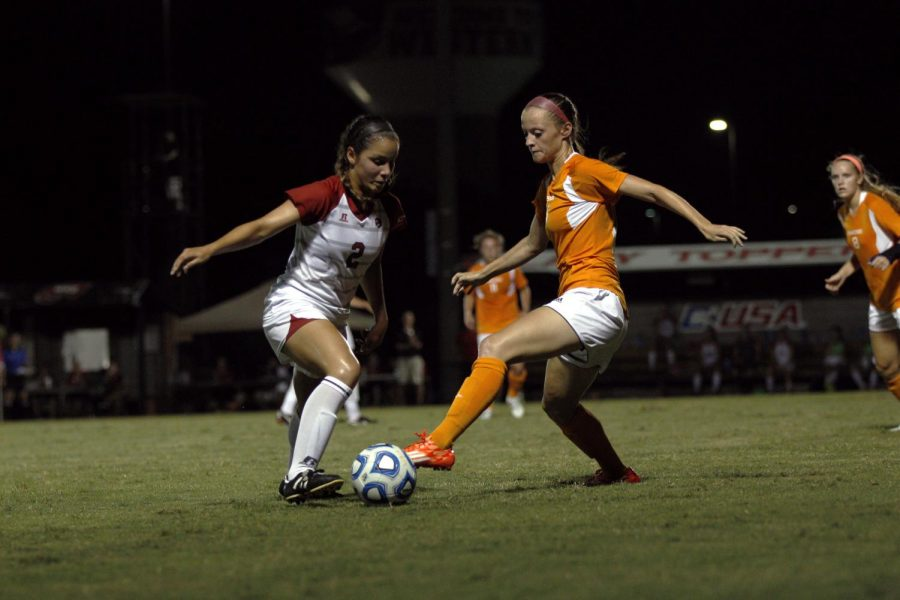 Freshman+midfielder+Hannah+Chua+battles+University+of+Tennessee%27s+Colleen+Gawkins+for+possession+during+the+second+half+of+WKU%27s+Sept.+5+match.+The+Lady+Hilltoppers+lost+2-0+to+the+Lady+Volunteers.%C2%A0Brandon+Carter%2FHERALD