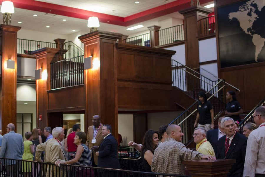 Alumni gathered for food and drink prior to President Gary Ransdell's welcoming speech at Downing Student Union. Catering for the event was provided by on-campus restaurants. Tanner Cole/HERALD