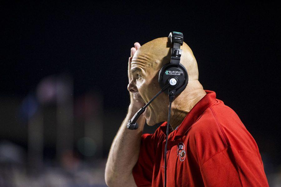 Defensive coordinator Nick Holt yells during the WKU vs MTSU game on Sept. 13, 2014. Nick Wagner/HERALD
