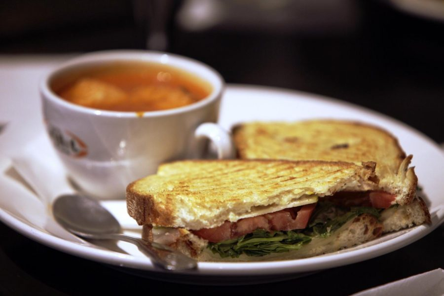 Blue and Swiss sandwich with a side of roasted tomato and red pepper soup at Novo Dolce Gastro Pub, located at 651 31-W Bypass. Alyssa Pointer/HERALD