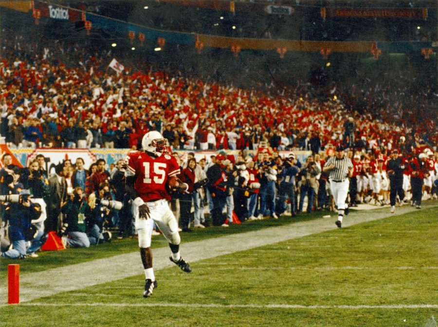 Tommie Frazier's iconic 75-yard touchdown run in the 1996 Fiesta Bowl clinched Nebraska's second straight national title. Frazier broke as many as seven tackles on the play, the culmination of a 62-24 win.