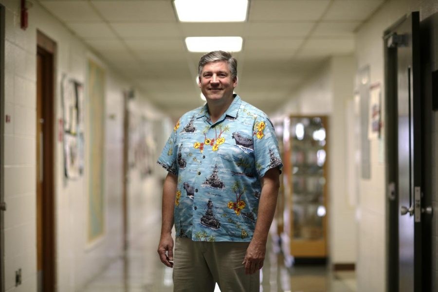 Geography professor Scott Dobler stands for a portrait in the Environmental Science and Technology building on Wednesday. Dobler has been teaching at WKU since 2000. Luke Franke/HERALD